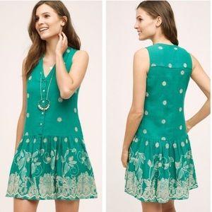 Maeve Anthro Green Linen Cream Embroidered Dress